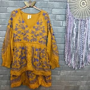 meadow rue // lisette embroidered tunic dress m